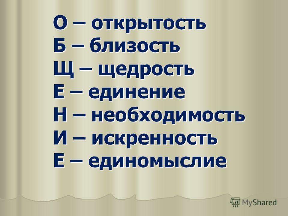 О – открытость Б – близость Щ – щедрость Е – единение Н – необходимость И – искренность Е – единомыслие