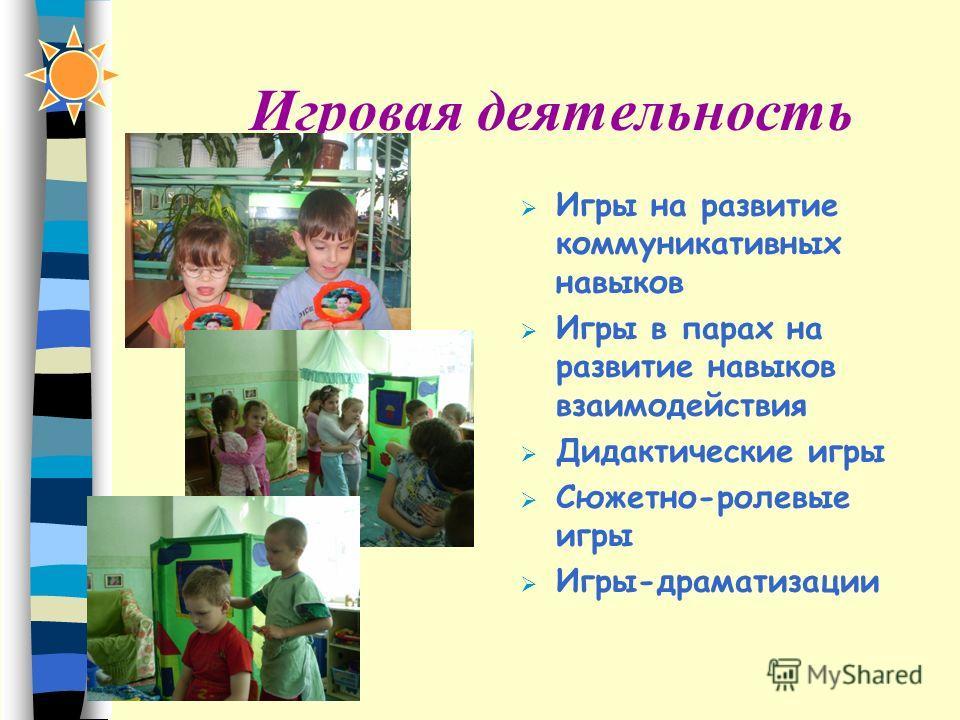 Игровая деятельность Игры на развитие коммуникативных навыков Игры в парах на развитие навыков взаимодействия Дидактические игры Сюжетно-ролевые игры Игры-драматизации
