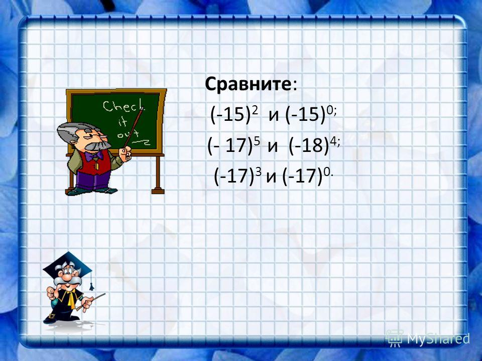 Сравните: (-15) 2 и (-15) 0; (- 17) 5 и (-18) 4; (-17) 3 и (-17) 0.