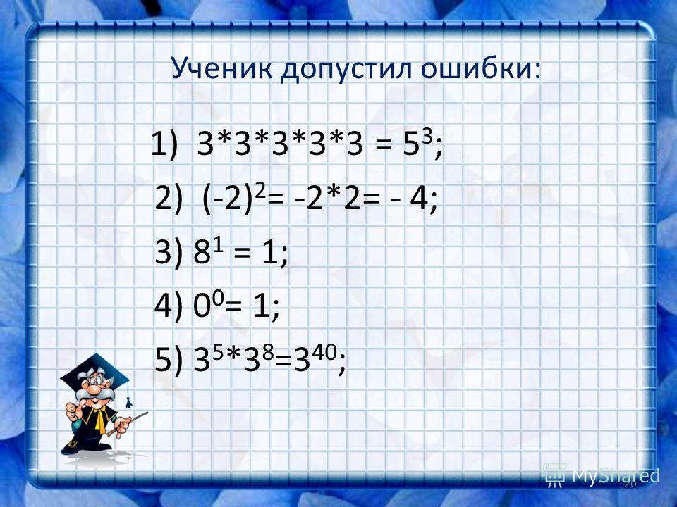 Ученик допустил ошибки: 1) 3*3*3*3*3 = 5 3 ; 2) (-2) 2 = -2*2= - 4; 3) 8 1 = 1; 4) 0 0 = 1; 5) 3 5 *3 8 =3 40 ; 20