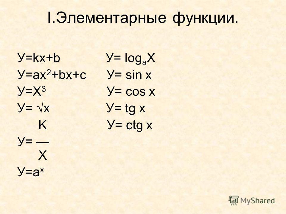 I.Элементарные функции. У=kx+b У= log a X У=ax 2 +bx+c У= sin x У=Х 3 У= соs x У= х У= tg x K У= сtg x У= Х У=а х