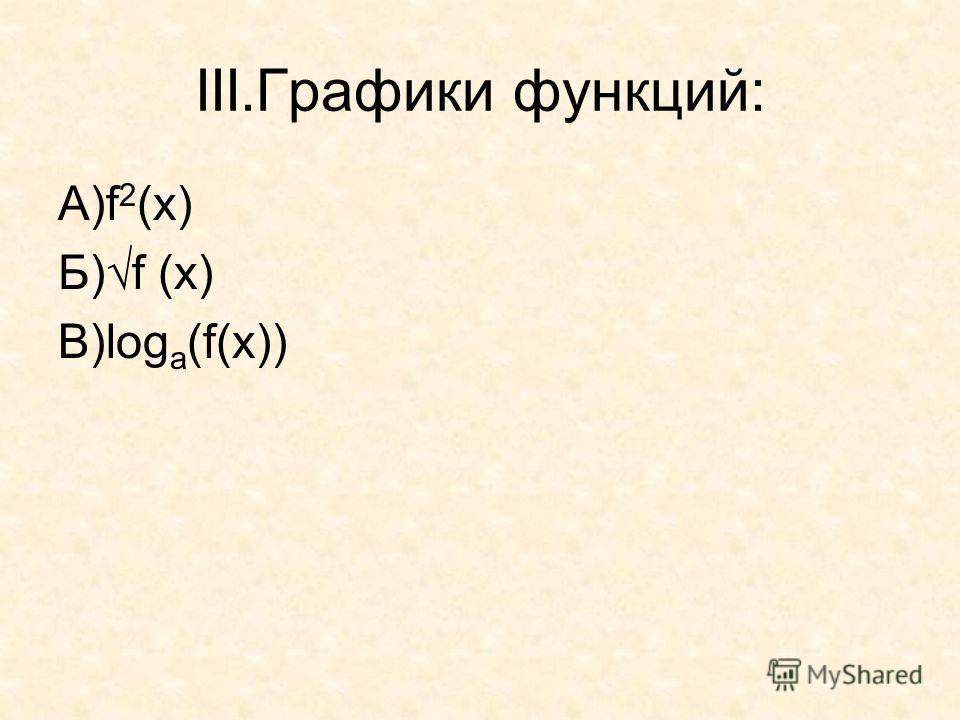 III.Графики функций: А)f 2 (x) Б)f (x) В)log a (f(x))