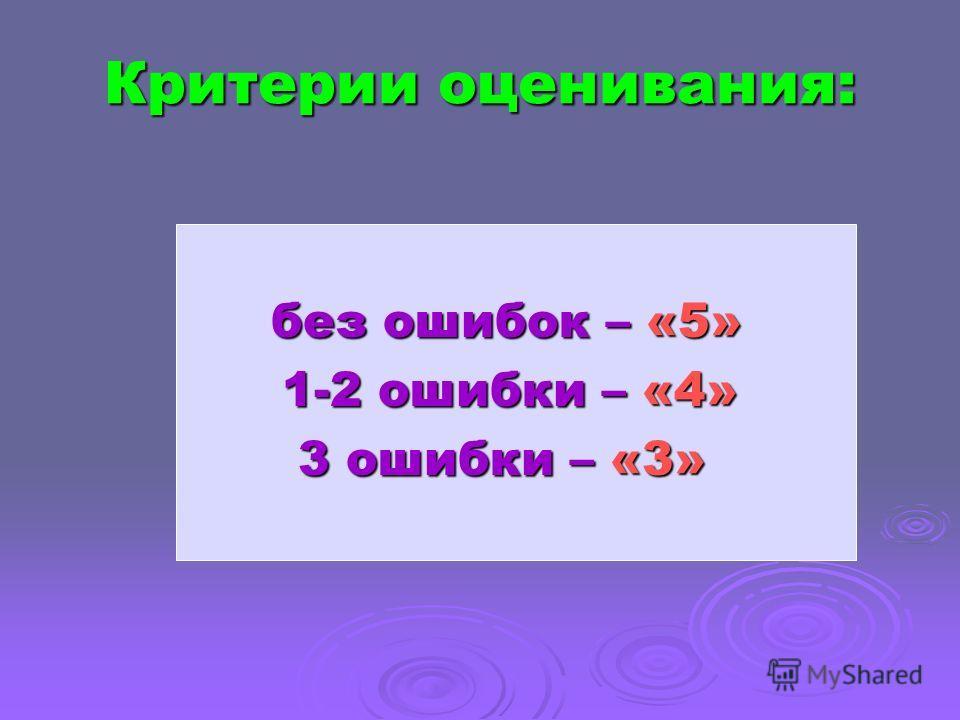 Критерии оценивания: без ошибок – «5» без ошибок – «5» 1-2 ошибки – «4» 1-2 ошибки – «4» 3 ошибки – «3» 3 ошибки – «3»