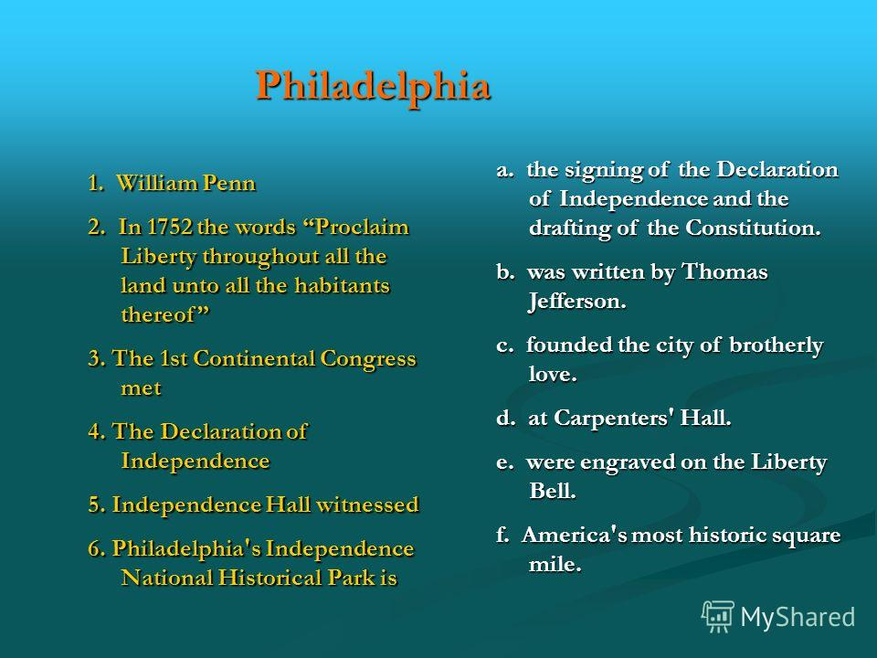 Philadelphia 1. William Penn 2. In 1752 the words Proclaim Liberty throughout all the land unto all the habitants thereof 3. The 1st Continental Congress met 4. The Declaration of Independence 5. Independence Hall witnessed 6. Philadelphia's Independ
