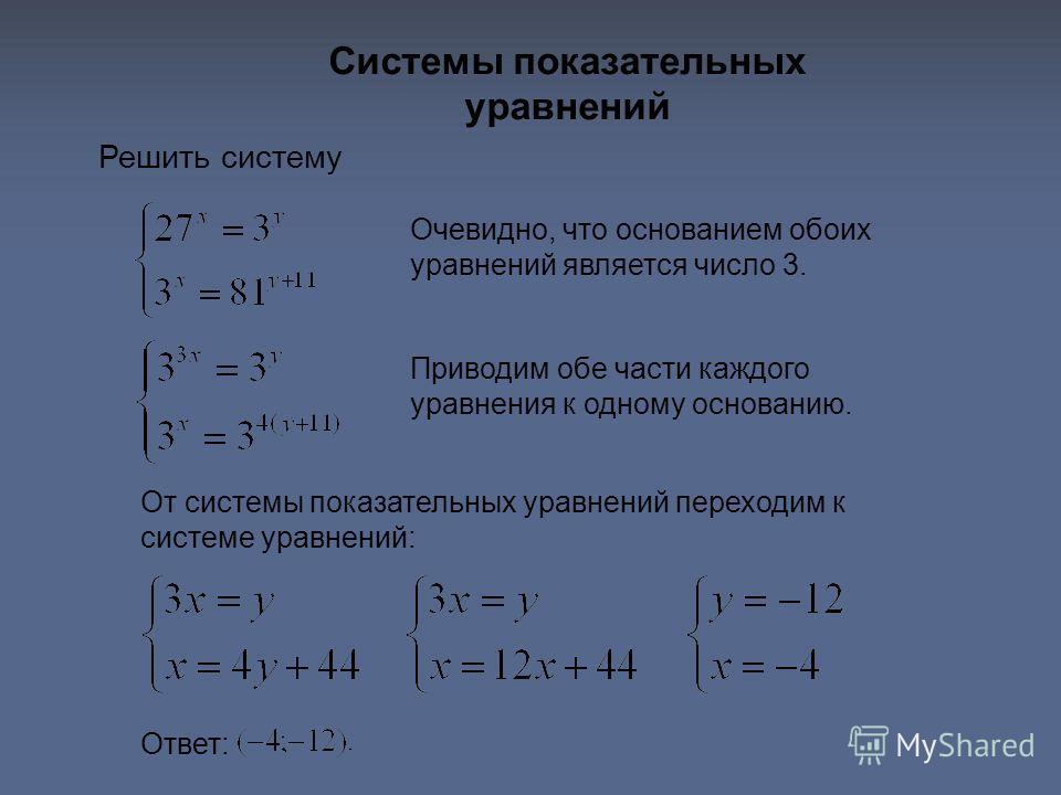 Системы показательных уравнений Решить систему Ответ: Очевидно, что основанием обоих уравнений является число 3. Приводим обе части каждого уравнения к одному основанию. От системы показательных уравнений переходим к системе уравнений: