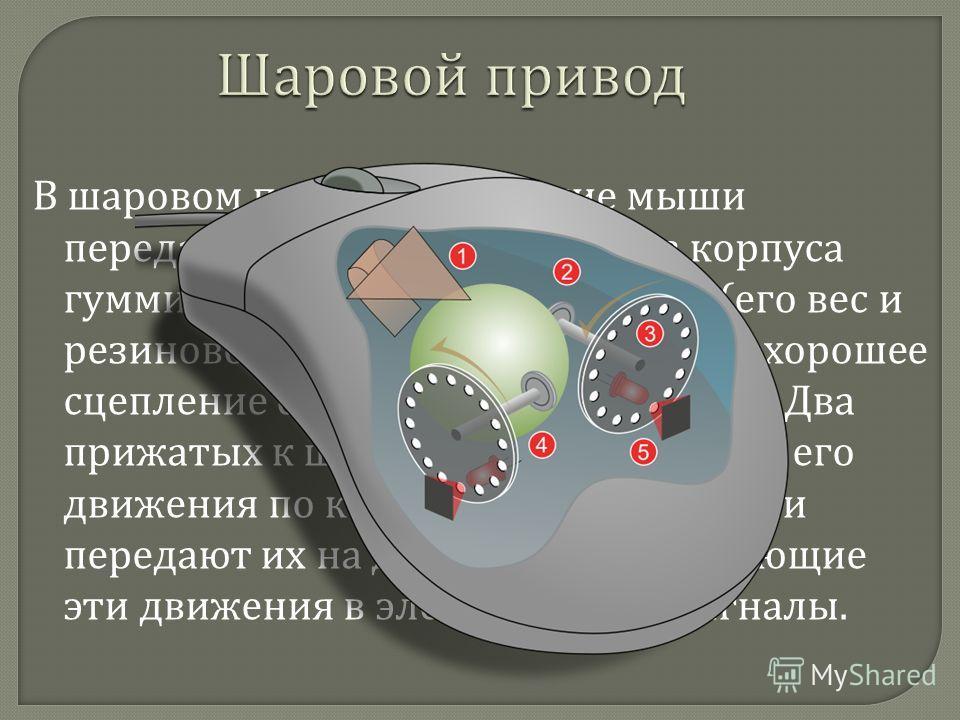 В шаровом приводе движение мыши передается на выступающий из корпуса гуммированный стальной шарик ( его вес и резиновое покрытие обеспечивают хорошее сцепление с рабочей поверхностью ). Два прижатых к шарику ролика снимают его движения по каждому из