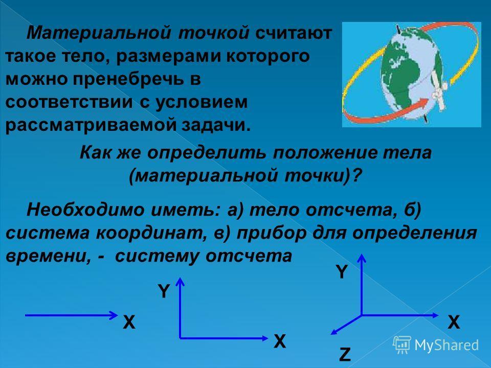 Материальной точкой считают такое тело, размерами которого можно пренебречь в соответствии с условием рассматриваемой задачи. Как же определить положение тела (материальной точки)? Необходимо иметь: а) тело отсчета, б) система координат, в) прибор дл