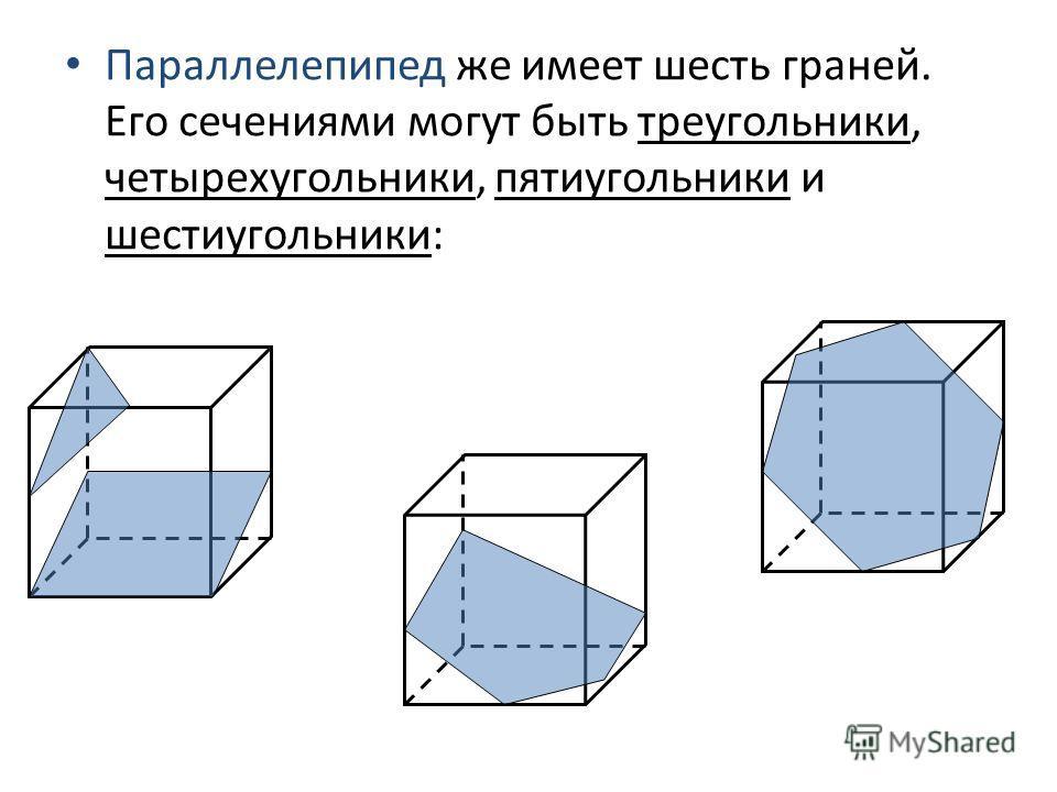Параллелепипед же имеет шесть граней. Его сечениями могут быть треугольники, четырехугольники, пятиугольники и шестиугольники: