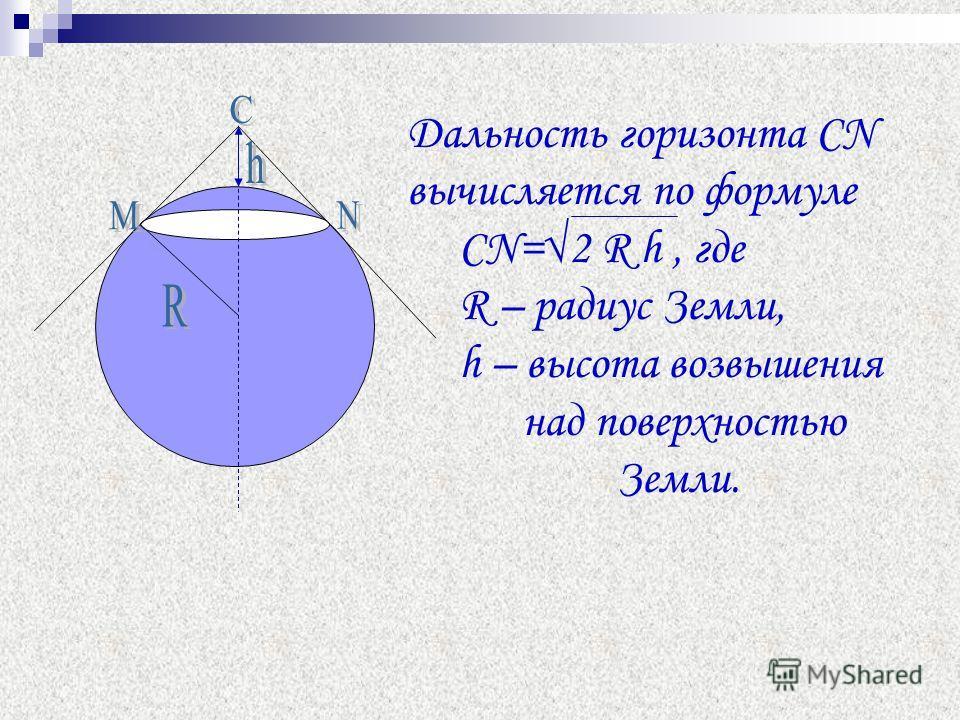 Дальность горизонта СN вычисляется по формуле СN=2 R h, где R – радиус Земли, h – высота возвышения над поверхностью Земли.