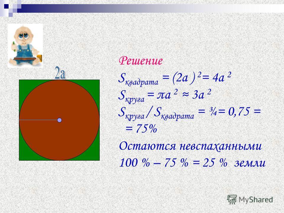 Решение S квадрата = (2а ) 2 = 4а 2 S круга = πa 2 3а 2 S круга / S квадрата = ¾= 0,75 = = 75% Остаются невспаханными 100 % – 75 % = 25 % земли