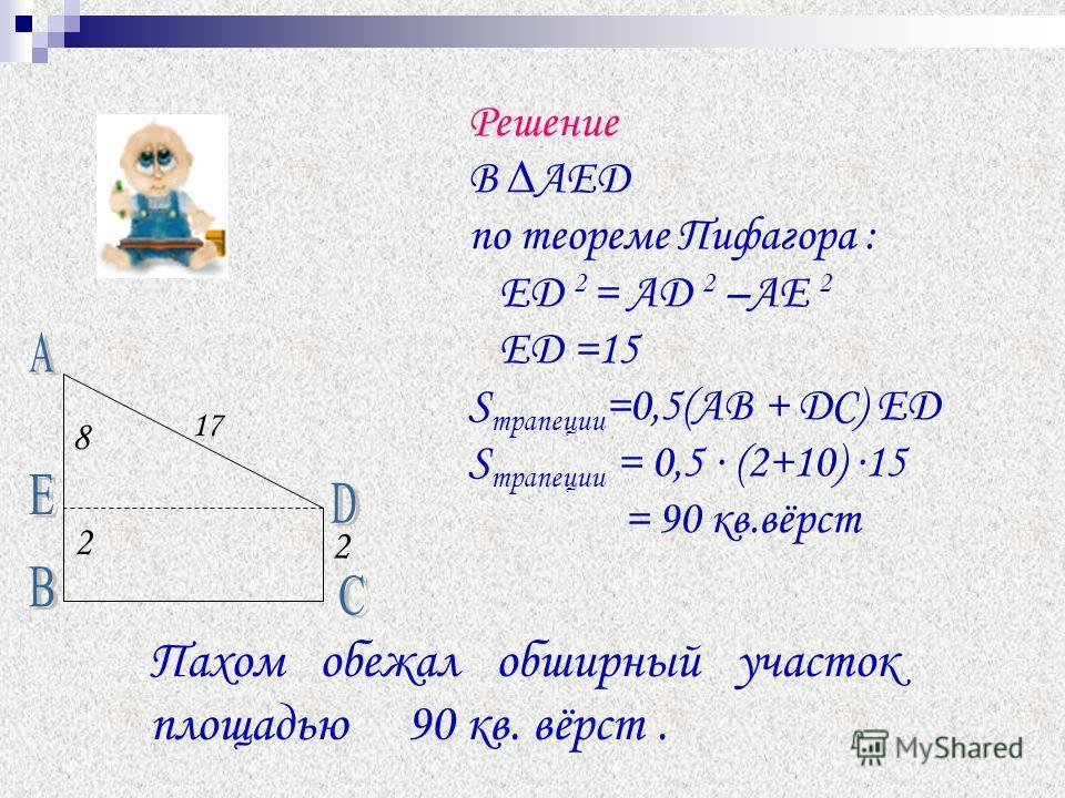 Решение В АЕД по теореме Пифагора : ED 2 = AD 2 –AE 2 ED =15 S трапеции =0,5(АВ + DC) ED S трапеции = 0,5 (2+10) 15 = 90 кв.вёрст 8 2 2 17 Пахом обежал обширный участок площадью 90 кв. вёрст.