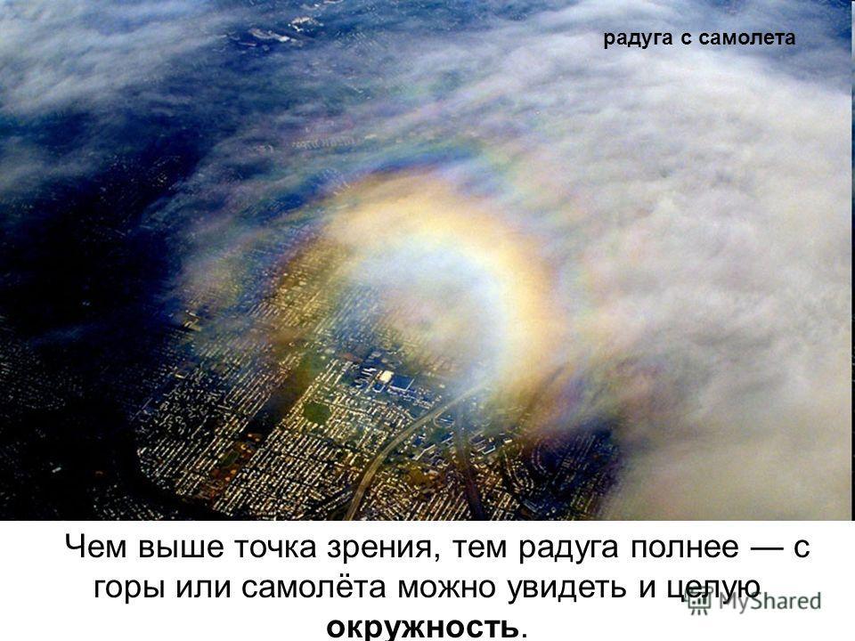 Чем выше точка зрения, тем радуга полнее с горы или самолёта можно увидеть и целую окружность. радуга с самолета
