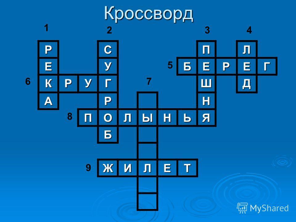 КроссвордРСПЛ ЕУБЕРЕГ КРУГШД АРН ПОЛЫНЬЯ Б ЖИЛЕТ 1 6 2 8 7 5 34 9