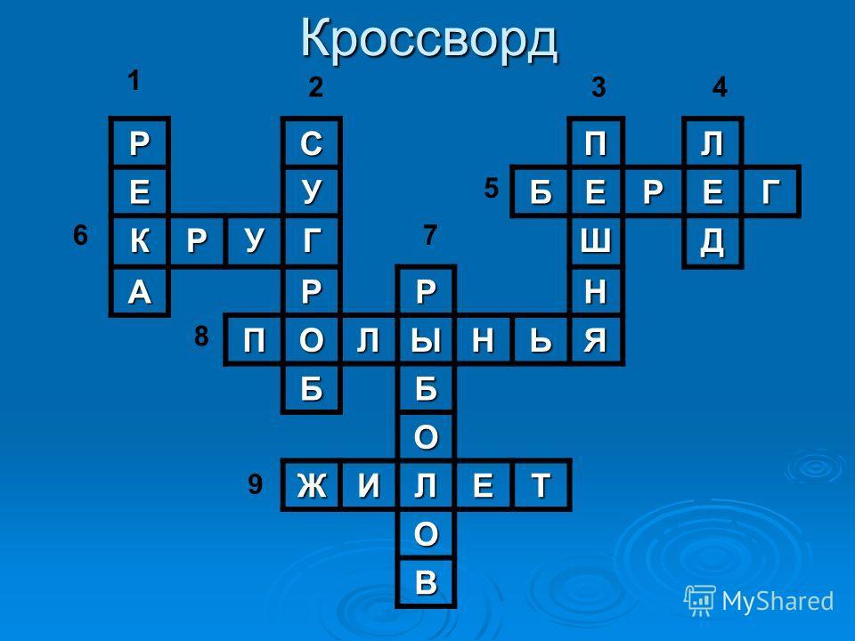КроссвордРСПЛ ЕУБЕРЕГ КРУГШД АРРН ПОЛЫНЬЯ ББ О ЖИЛЕТ О В 1 6 2 8 7 5 34 9