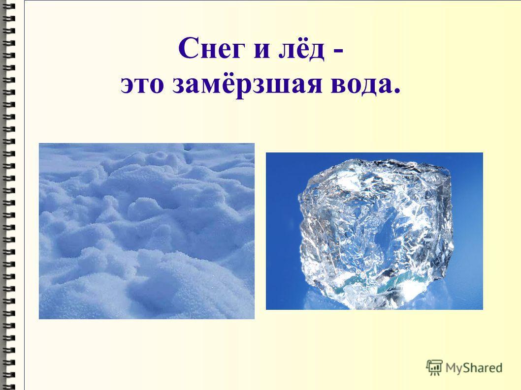 Снег и лёд - это замёрзшая вода.