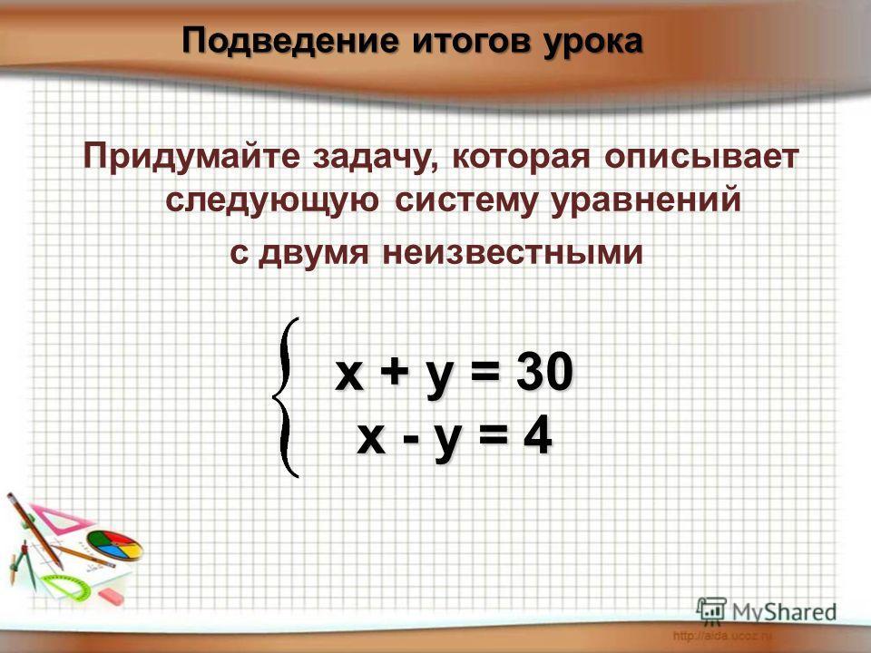 Придумайте задачу, которая описывает следующую систему уравнений с двумя неизвестными х + у = 30 х - у = 4 Подведение итогов урока