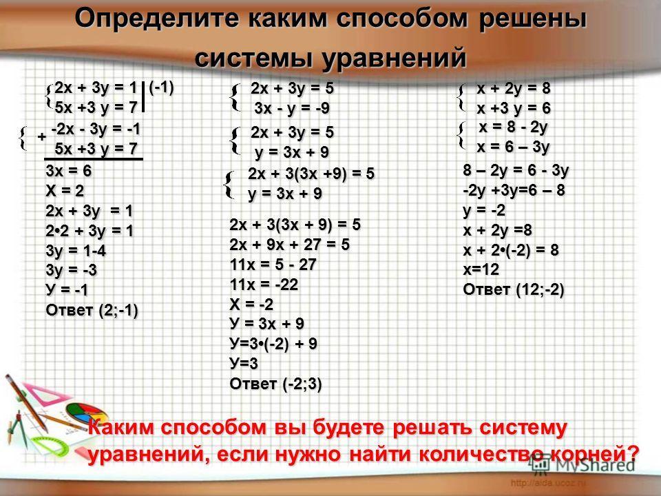 Определите каким способом решены системы уравнений 2х + 3у = 5 у = 3х + 9 2х + 3у = 5 3х - у = -9 2х + 3(3х +9) = 5 у = 3х + 9 2х + 3(3х + 9) = 5 2х + 9х + 27 = 5 11х = 5 - 27 11х = -22 Х = -2 У = 3х + 9 У=3(-2) + 9 У=3 Ответ (-2;3) 3х = 6 Х = 2 2х +