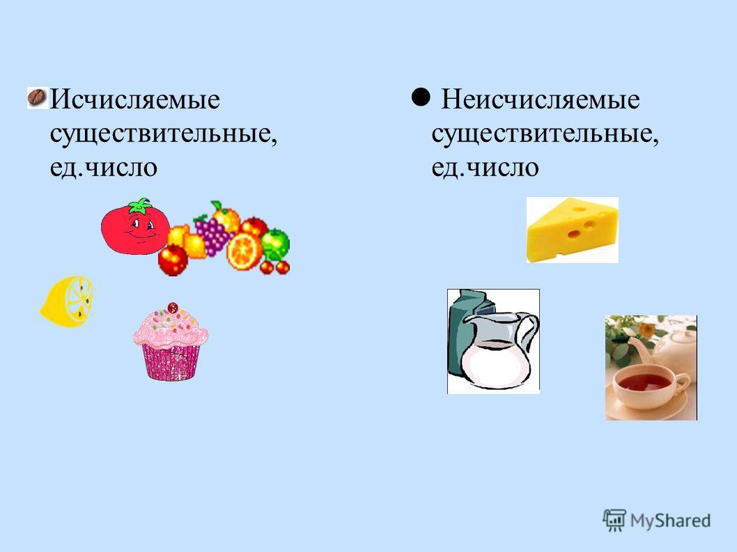 Исчисляемые существительные, ед.число Неисчисляемые существительные, ед.число