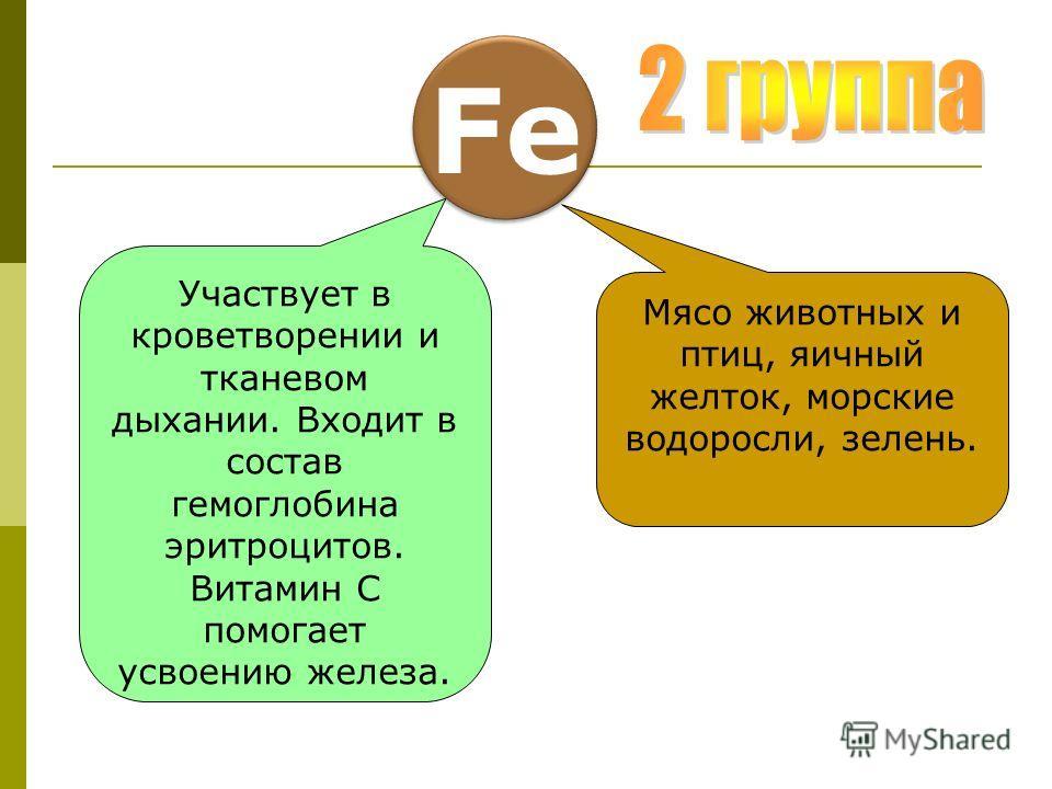 Fe Участвует в кроветворении и тканевом дыхании. Входит в состав гемоглобина эритроцитов. Витамин С помогает усвоению железа. Мясо животных и птиц, яичный желток, морские водоросли, зелень.