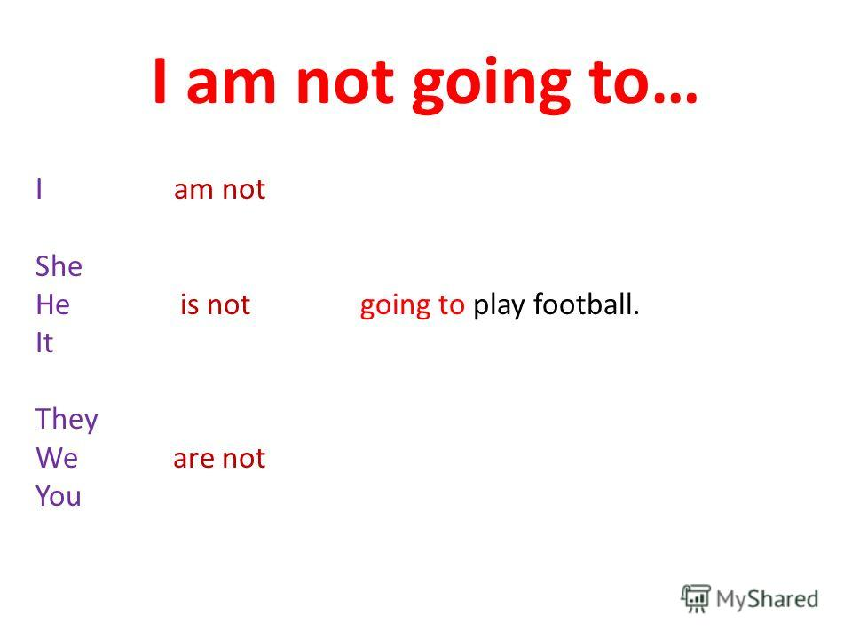 I am not going to… I am not She He is not going to play football. It They We are not You