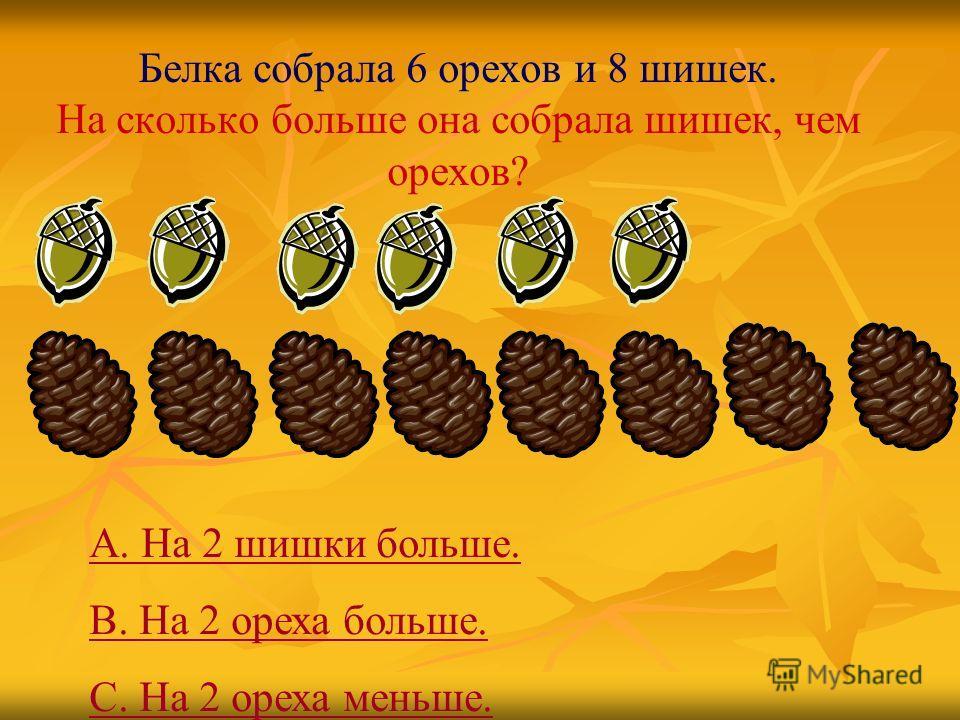 Белка собрала 6 орехов и 8 шишек. На сколько больше она собрала шишек, чем орехов? А. На 2 шишки больше. В. На 2 ореха больше. С. На 2 ореха меньше.
