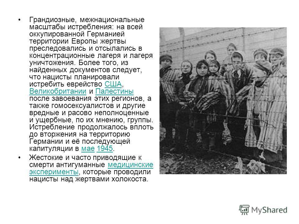 Грандиозные, межнациональные масштабы истребления: на всей оккупированной Германией территории Европы жертвы преследовались и отсылались в концентрационные лагеря и лагеря уничтожения. Более того, из найденных документов следует, что нацисты планиров