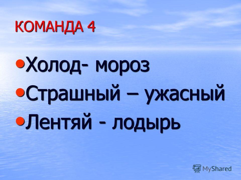 КОМАНДА 4 Холод- мороз Холод- мороз Страшный – ужасный Страшный – ужасный Лентяй - лодырь Лентяй - лодырь