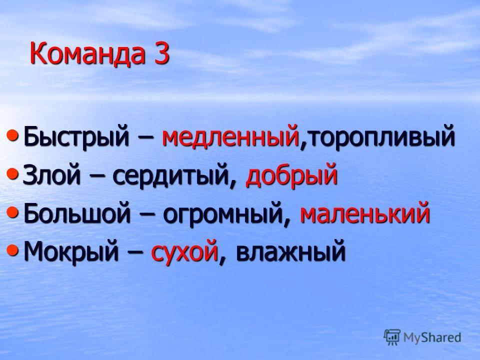 Команда 3 Быстрый – медленный,торопливый Быстрый – медленный,торопливый Злой – сердитый, добрый Злой – сердитый, добрый Большой – огромный, маленький Большой – огромный, маленький Мокрый – сухой, влажный Мокрый – сухой, влажный