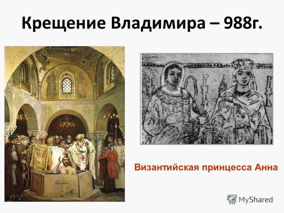 Крещение Владимира – 988г. Византийская принцесса Анна