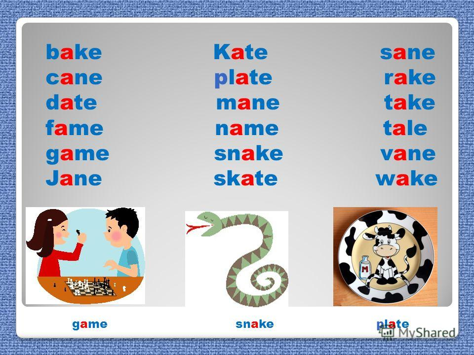 bake Kate sane cane plate rake date mane take fame name tale game snake vane Jane skate wake game snake plate