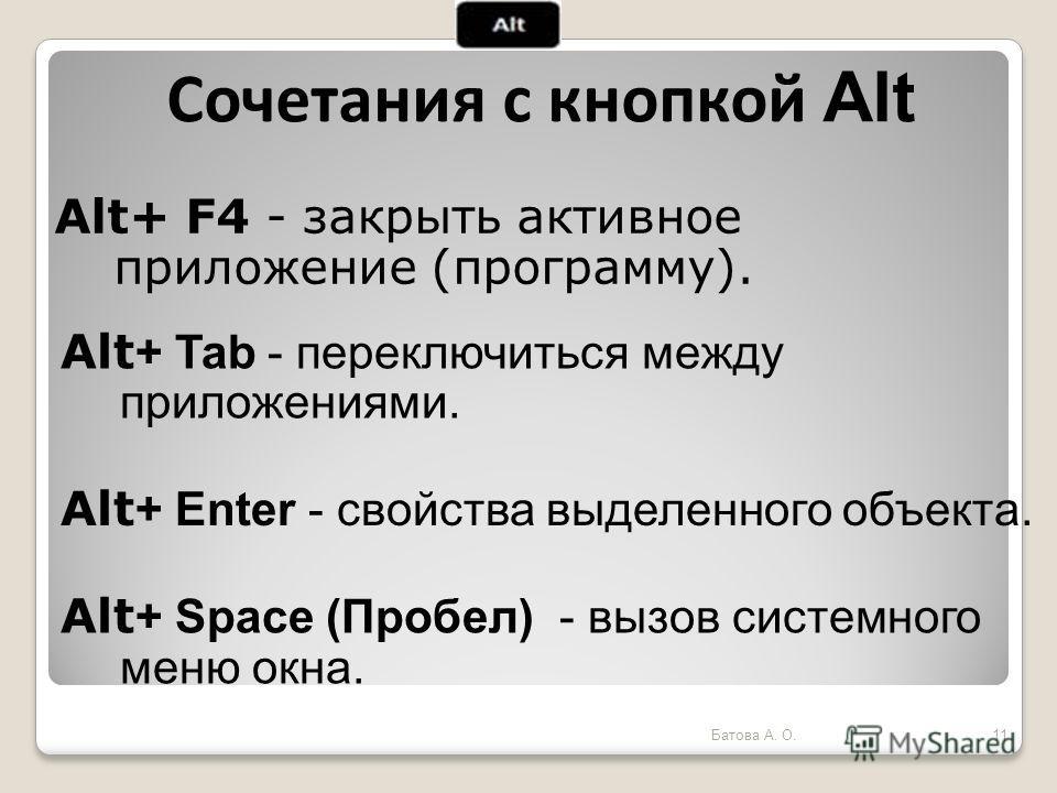 Alt+ F4 - закрыть активное приложение (программу). Сочетания с кнопкой Alt Alt + Tab - переключиться между приложениями. Alt + Enter - свойства выделенного объекта. Alt + Space (Пробел) - вызов системного меню окна. 11Батова А. О.