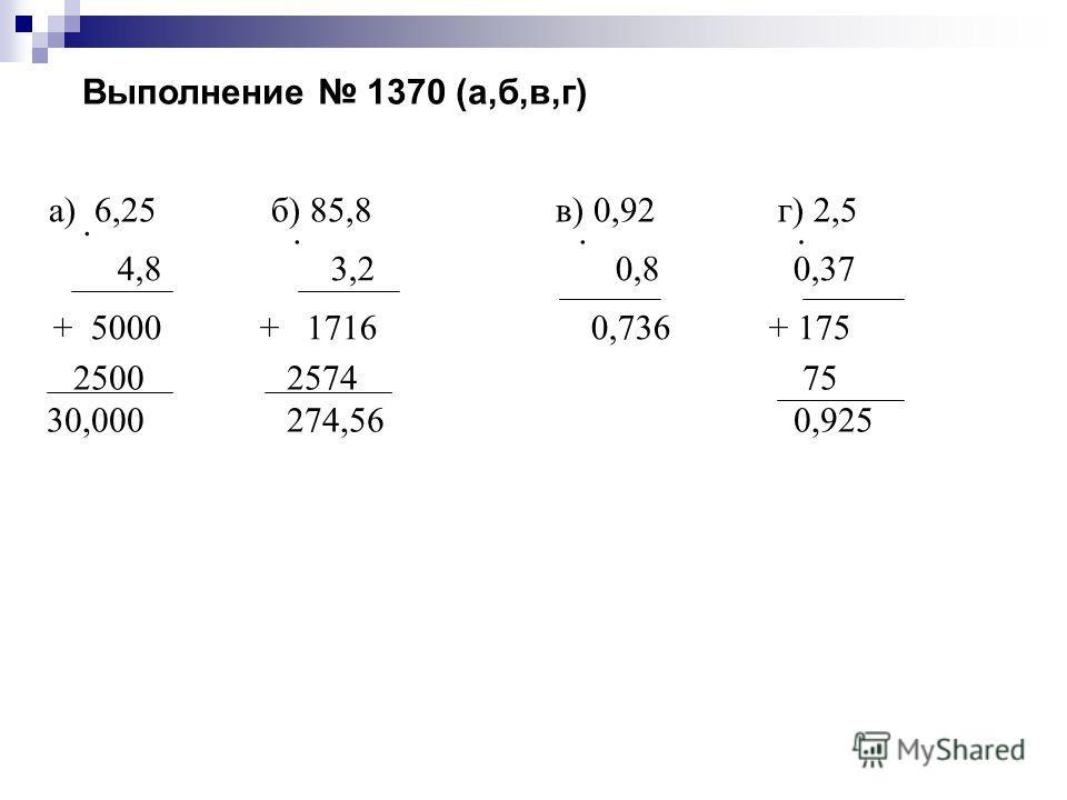 Выполнение 1370 (а,б,в,г) а) 6,25 б) 85,8 в) 0,92 г) 2,5 4,8 3,2 0,8 0,37 + 5000 + 1716 0,736 + 175 2500 2574 0,736 75 30,000 274,56 0,925
