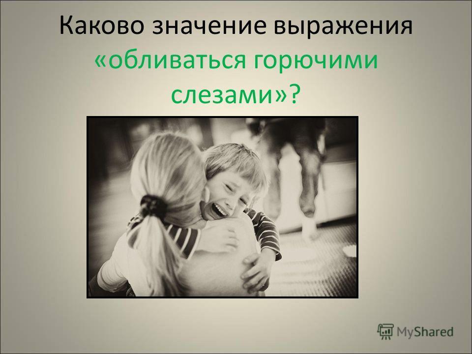 Каково значение выражения «обливаться горючими слезами»?
