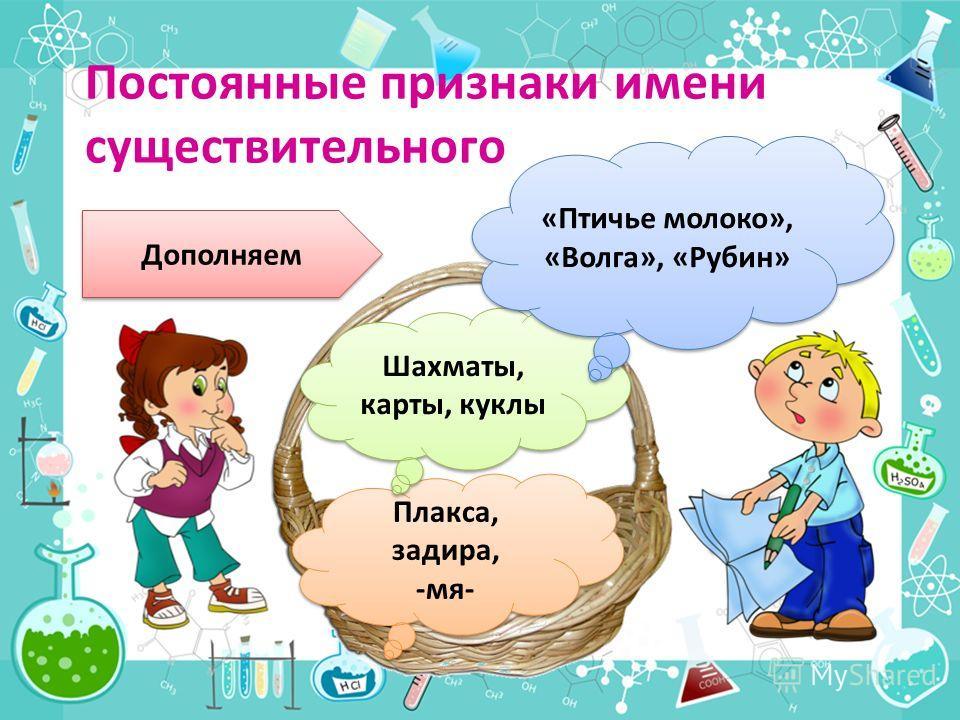 Дополняем Плакса, задира, -мя- Плакса, задира, -мя- Шахматы, карты, куклы «Птичье молоко», «Волга», «Рубин»