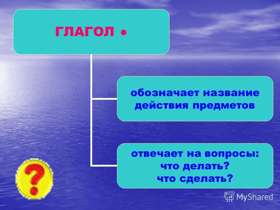 ГЛАГОЛ обозначает название действия предметов отвечает на вопросы: что делать? что сделать?