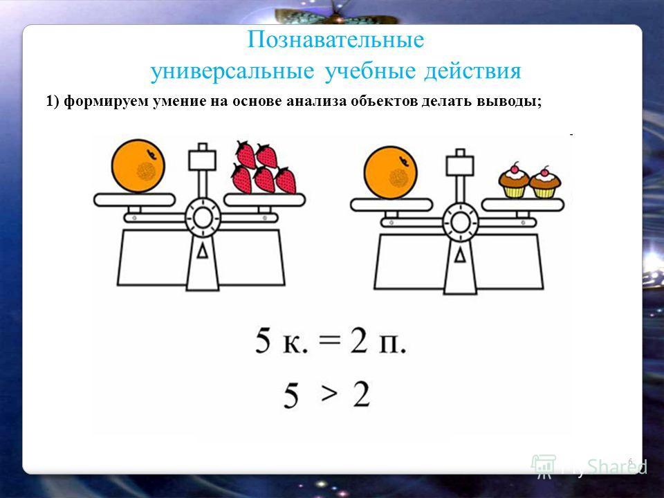 6 Познавательные универсальные учебные действия 1) формируем умение на основе анализа объектов делать выводы;