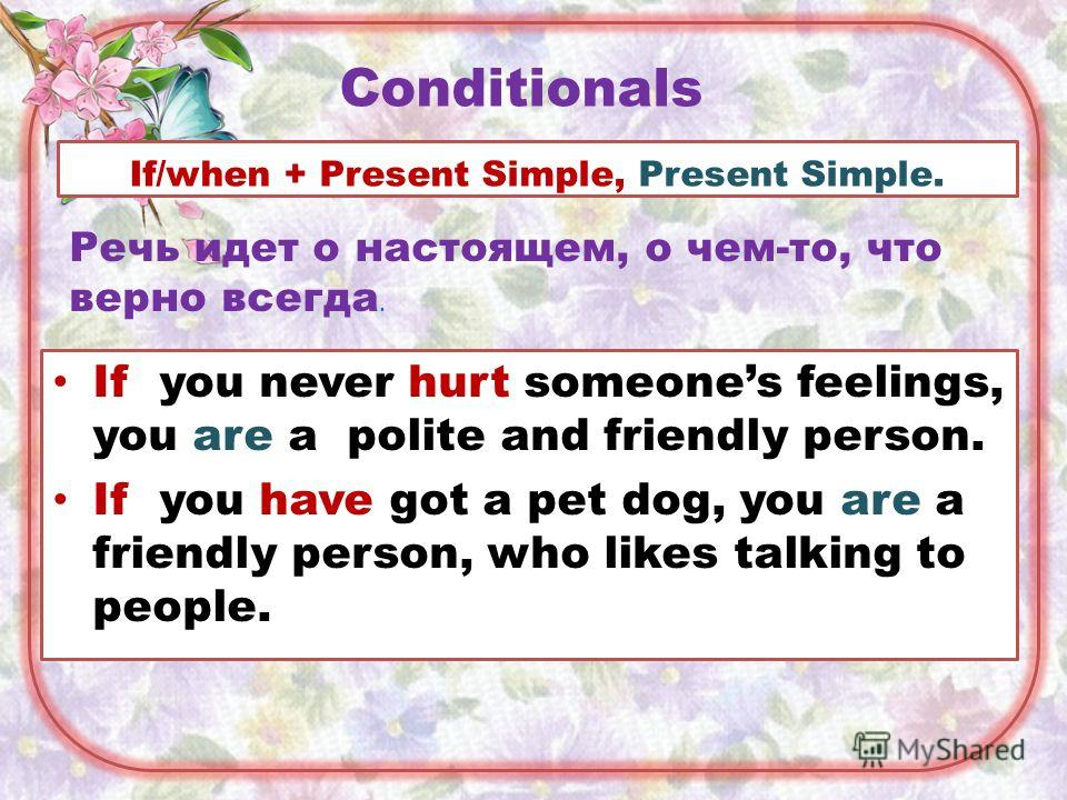 Conditionals If you never hurt someones feelings, you are a polite and friendly person. If you have got a pet dog, you are a friendly person, who likes talking to people. If/when + Present Simple, Present Simple. Речь идет о настоящем, о чем-то, что