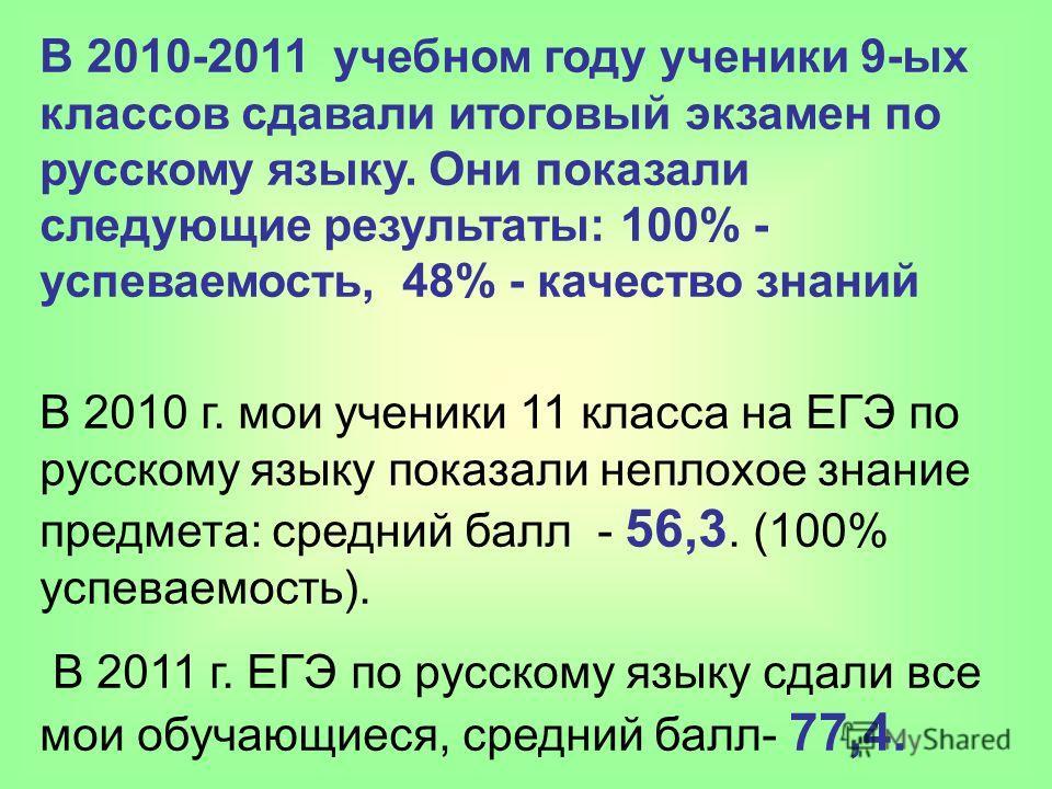 В 2010-2011 учебном году ученики 9-ых классов сдавали итоговый экзамен по русскому языку. Они показали следующие результаты: 100% - успеваемость, 48% - качество знаний В 2010 г. мои ученики 11 класса на ЕГЭ по русскому языку показали неплохое знание