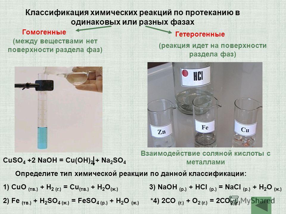 Классификация химических реакций по протеканию в одинаковых или разных фазах Гомогенные Гетерогенные Взаимодействие соляной кислоты с металлами CuSO 4 +2 NaOH = Cu(OH) 2 + Na 2 SO 4 Определите тип химической реакции по данной классификации: 1) СuO (т