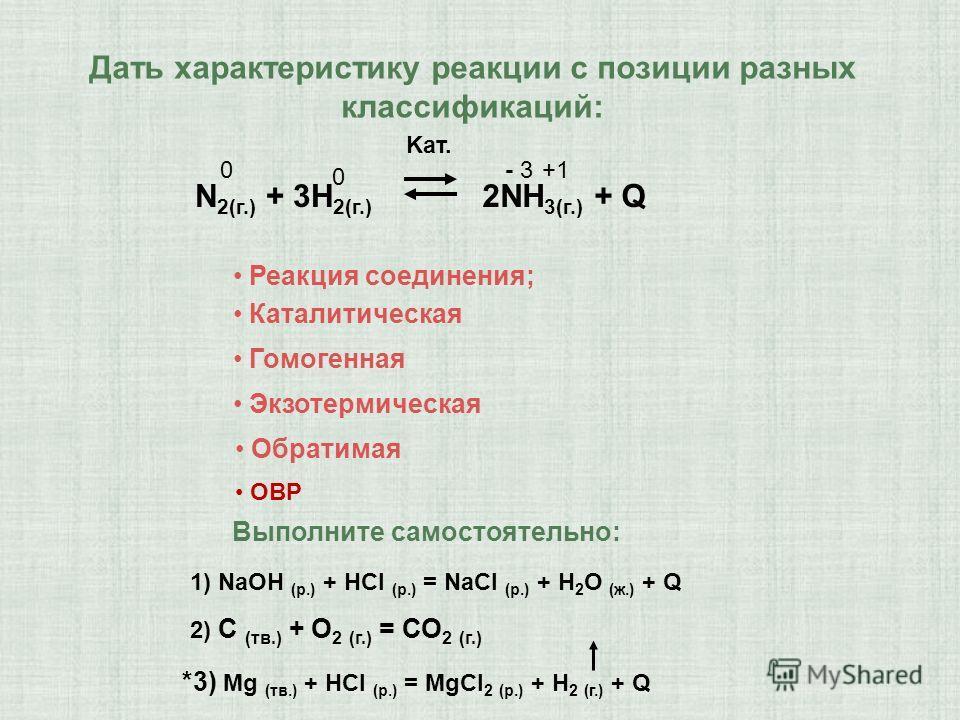 Дать характеристику реакции c позиции разных классификаций: N 2(г.) + 3H 2(г.) 2NH 3(г.) + Q Kат. Реакция соединения; Каталитическая Гомогенная Экзотермическая Обратимая 1) NaOH (p.) + HCl (p.) = NaCl (p.) + H 2 O (ж.) + Q *3) Mg (тв.) + НСl (p.) = M