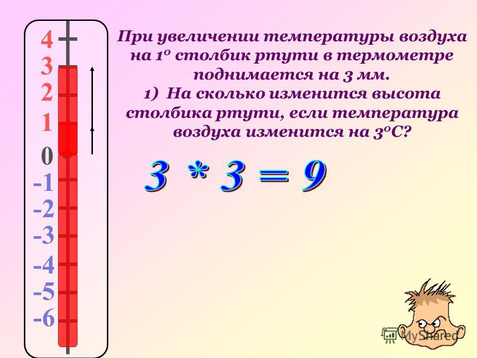 При увеличении температуры воздуха на 1 0 столбик ртути в термометре поднимается на 3 мм. 1) На сколько изменится высота столбика ртути, если температура воздуха изменится на 3 0 С? 4 3 2 1 0 -2 -3 -4 -5 -6