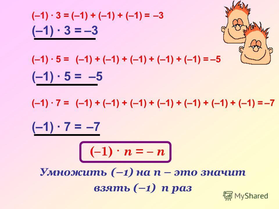 (–1) · 3 =(–1) + (–1) + (–1) =–3 (–1) · 5 =(–1) + (–1) + (–1) + (–1) + (–1) =–5 (–1) · 7 =(–1) + (–1) + (–1) + (–1) + (–1) + (–1) + (–1) =–7 (–1) · 3 =–3 (–1) · 5 =–5 (–1) · 7 =–7 (–1) · n = – n Умножить (–1) на n – это значит взять (–1) n раз