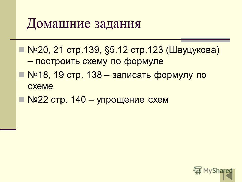 Домашние задания 20, 21 стр.139, §5.12 стр.123 (Шауцукова) – построить схему по формуле 18, 19 стр. 138 – записать формулу по схеме 22 стр. 140 – упрощение схем