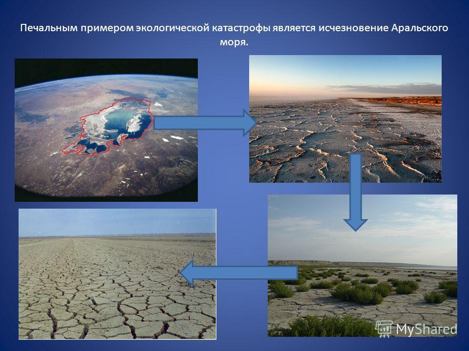 Печальным примером экологической катастрофы является исчезновение Аральского моря.