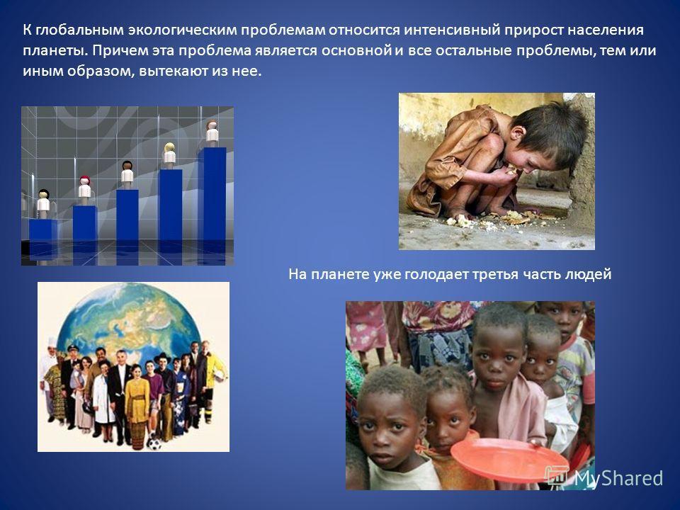К глобальным экологическим проблемам относится интенсивный прирост населения планеты. Причем эта проблема является основной и все остальные проблемы, тем или иным образом, вытекают из нее. На планете уже голодает третья часть людей