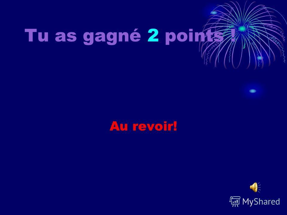 Tu as gagné 1 point ! Au revoir!