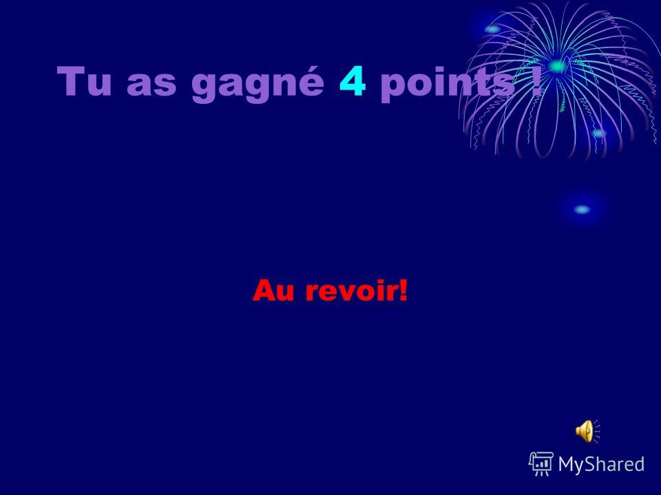 Tu as gagné 3 points ! Au revoir!