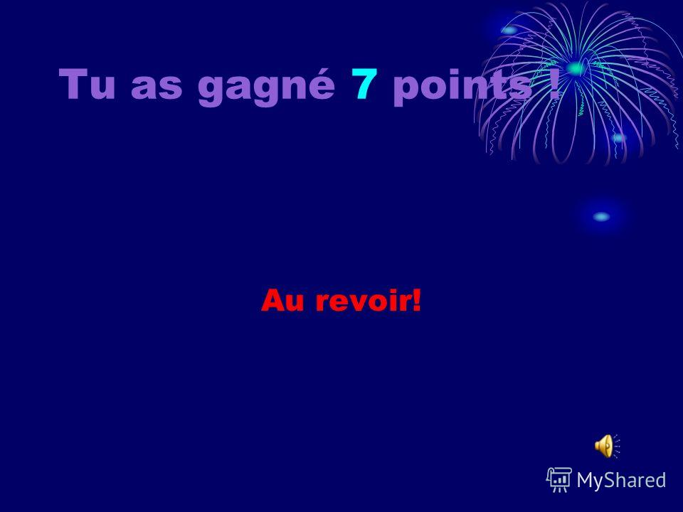 Tu as gagné 6 points ! Au revoir!