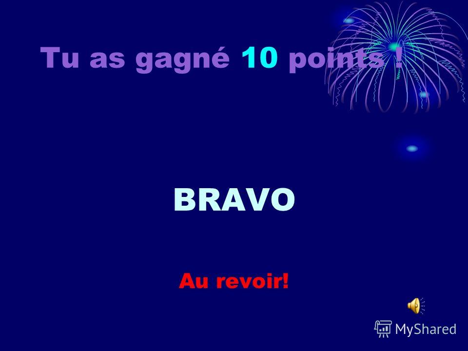 Tu as gagné 9 points ! Au revoir!