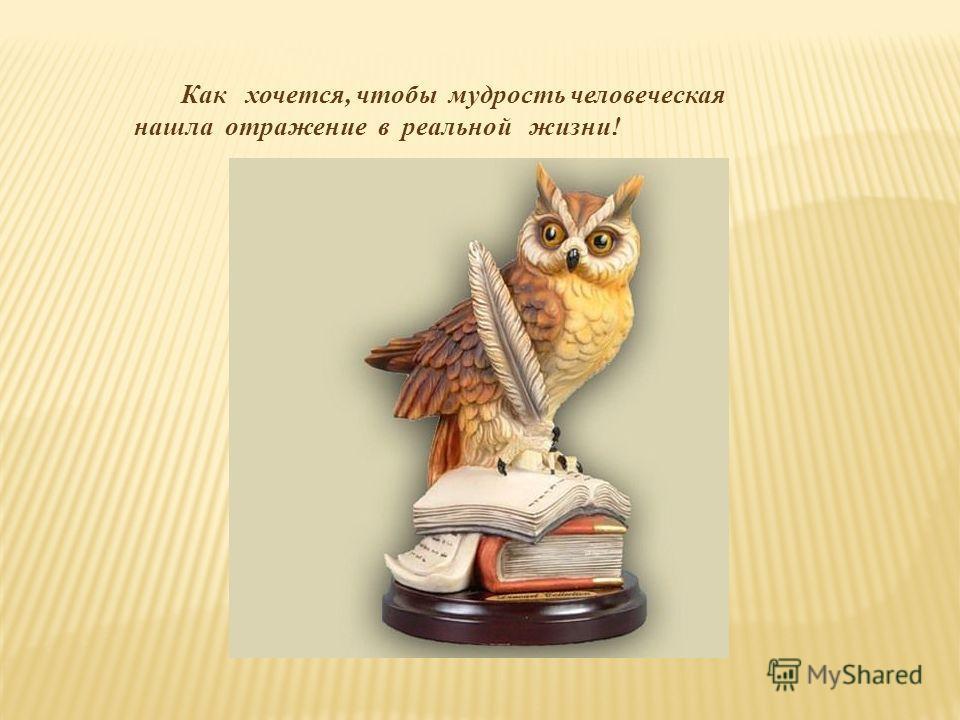 Как хочется, чтобы мудрость человеческая нашла отражение в реальной жизни!
